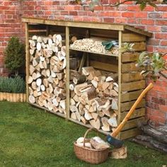 An extremely large firewood log store for the garden. Easy to assemble and is very strong. The firewood log store is pressure treated to give a long service life, with a shelf included the log store provides a perfect log storage solution. Outdoor Firewood Rack, Firewood Logs, Firewood Storage, Outdoor Storage, Log Shed, Garden Buildings, Wood Burner, Back Gardens, Outdoor Projects