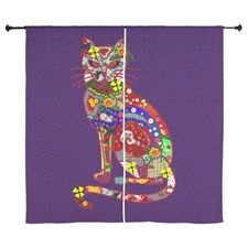 Patchwork Cat Curtains by CrazyAssBear - CafePress Quilted Curtains, Curtain Designs, Cats, Prints, Color, Scrappy Quilts, Gatos, Kitty Cats, Colour