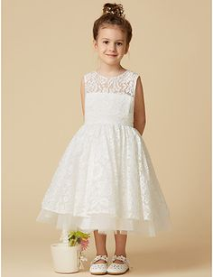 A-Line Knee Length Flower Girl Dress - Lace Tulle Sleeveless Scoop Neck with Lace by LAN TING BRIDE®. #ad #weddings #flowergirl #dresses #rusticweddings #lace #tulle #countryweddings #weddingideas