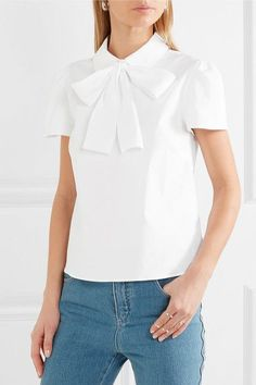 White stretch cotton-blend poplin  Button-fastening keyhole at back 74% cotton, 21% polyamide, 5% elastane Dry clean Imported