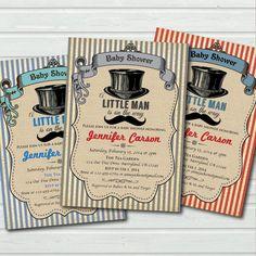 #BabyShowerInvitation Hat and mustache baby shower invitation. Vintage baby boy…