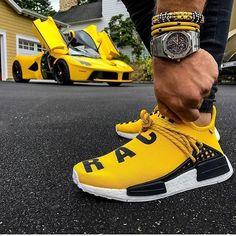 Adidas Human race yellow with that la Ferrari in the background! Human Race Shoes, Adidas Human Race, Human Race Nmd, New York Fashion, Teen Fashion, Fashion Trends, Ootd Fashion, Fashion Clothes, Latest Fashion