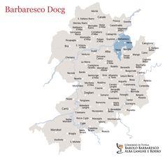 Barbaresco Map, Piemonte, Italy