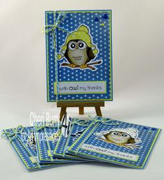 "Art Impressions Rubber Stamps: Ai Whoots:  ""Beanie Whoot"" set (#4127) ... handmade gift card set with storage box."