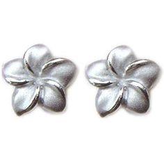 Amazon.com: Sterling Silver Plumeria Flower Stud Pierce Earrings: Jewelry