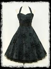 dress190 DARK BLUE HALTER FLOCK TATTOO ROCKABILLY PROM PARTY COCKTAIL DRESS 18