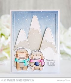 Beast Friends Stamp Set and Die-namics, Snow-Capped Mountains Die-namics, Stitched Cloud Edges Die-namics, Single Stitch Line Rectangle Frame Die-namics - Keeway Tsao  #mftstamps