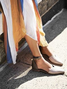 High Road Lace Flat | Slip on pointed toe flats featuring open sides and adjustable ankle strap. Slight stacked heel.