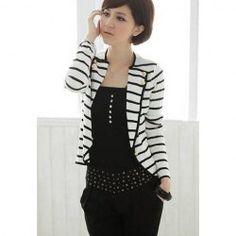 $6.76 Graceful Black-White Stripe Design Lapel Collar Long Sleeves Blazer For Women
