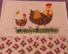 Pano de prato pintura em tecido galinhas