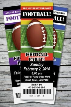 Football Game Party Invitation Ticket Birthday Stub Girl Boy Sports Big Ball | eBay Ticket Invitation, Printable Birthday Invitations, Party Invitations, Ball Birthday, 2nd Birthday Parties, Birthday Ideas, Game Party, Star Party, Best Part Of Me