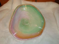 Beautiful Hand Blown Art Deco Pink Green Orange Glass Free Form Bowl Candy Dish