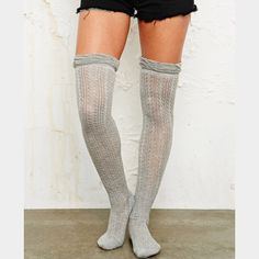 2- Urban Outfitters knee high socks Super cute. Cotton. Never worn . In package ! Line thru tags to prevent store returns. Both retail 14+ $ ! No trades Urban Outfitters Accessories Hosiery & Socks