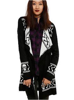 <p>Black & white knit open cardigan with skull & crossbones intarsia print design.</p>  <ul> <li>100% acrylic</li> <li>Wash cold; dry flat</li> <li>Imported</li> <li>Listed in junior sizes</li> </ul>