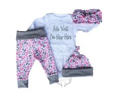 Baby Girls Coming home Outfit SetHello by TheSouthernCloset101