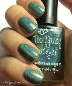Too Fancy Lacquer - Peacock Parade - peacock green linear holographic polish