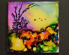 alcohol ink tile.  The site is a tutorial on how to create these little masterpieces.