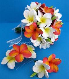 Real Touch Frangipani Plumeria Artificial Wedding Flowers Bouquet Set White Orange mango Beach Wedding Posy Hair comb Bout