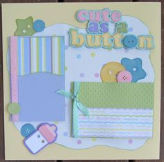 Premade baby scrapbook page layout 12x12 by DoodleBearBoutique