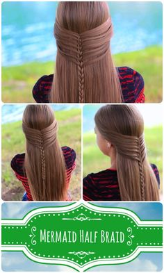 Soft and elegant girl's hairstyle -Mermaid Half Braid with video tutorial. #diy, #hairstyle