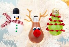 Creative Ideas - DIY Light Bulb Christmas Ornaments --> Three Light Bulb Ornaments craft #Christmas #light_bulb #decor