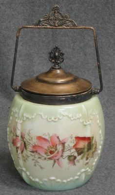 320E: Floral decorated Bristol glass biscuit jar with p : Lot 320E