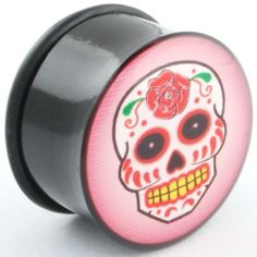 """One Acrylic Single Flared Logo Plug: 5/8"""" Sugar Skull (SOLD INDIVIDUALLY. ORDER TWO FOR A PAIR.) Steel Navel Body Jewelry. $8.85"""