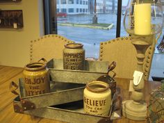 ASHLEY Furniture Homestore, Atrium, Dartmouth, NS.  Cutlery Jars and Metal Trays.