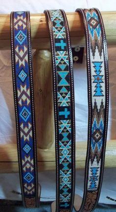 Beaded Inlay belts with two tone flowers by Deesbeadeddogcollars