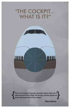 """Airplane - """"The Cockpit, What is it"""" - Humorous Movie Poster: 11""""x17"""" High Quality Print. $18.00, via Etsy."""