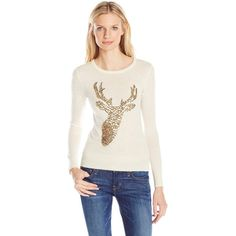 French Connection Women's Reindeer Sequin Sweater ($43) ❤ liked on Polyvore featuring tops, sweaters, sequin evening tops, cocktail tops, sequin sweater, french connection tops and sequin top