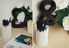 DIY pencil  pen holder   via www.one-o.it   #diy #home #studio #office #penholder #pencilholder #pe