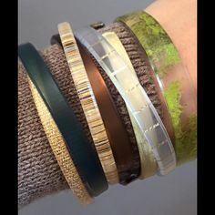 Skinnnnnnies and December Color Club bracelets! Color by Amber - where else can you get anything this cool and be helping the Earth and people around it while you shop? Message for info on joining me, home or online parties, Canadian shipping discounts... #ColorbyAmber #cbaskinnies #bracelets #gold #moss #beautiful #ecofriendly #jewelry #Christmas #gift #shop