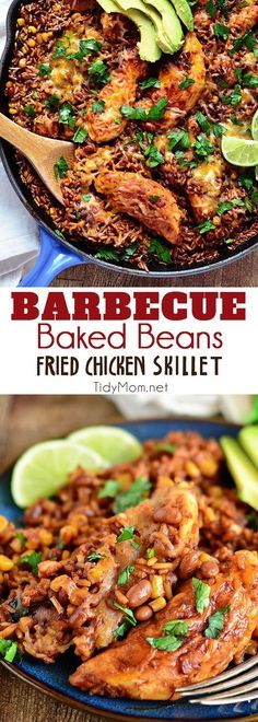 Barbecue Baked Beans Fried Chicken Skillet dinner blends barbecue sauce, chicken, baked beans, corn and rice to create a satisfying meal that's ready in 30 minutes. Set with a cozy dinner table and playlist and it's the perfect, weeknight recipe for famil