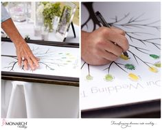 Guest Sign-in using fingerprint on tree outline. #fingerprint #guestbook #wedding #shabbychic #monarchweddings / Flowers: @Splendid Sentiments flowers and gifts  /Photographer: @Malia Dadez /  Coordinator: Monarch Weddings (www.monarchweddings.com)