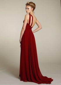 Indigo Chiffon One Shoulder Gathered Empire Bodice Long Bridesmaid Dress UK
