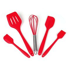 iLOME Silicone Spatula Utensil Set HeatResistant Nonstick Cooking Baking Utensils with Hygienic Solid Coating Spatula Set 5 PiecesRed ** Check out this great product.