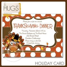 Personalized Turkey Owl Thanksgiving Cards or Party Invitations with Polka Dots by HeadsUpGirls, $1.50