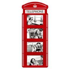Porta Retrato Cabine Telefônica London - Geguton  Porta retrato no formato da cabine telefônica mais famosa do mundo com muito estilo e bom gosto para decorar ambientes de sua casa com espaço para 4 fotografias de momentos especiais de sua vida.