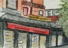 Boston Watercolor Painting. Deluca's Market. by kathleendaughan, $18.00
