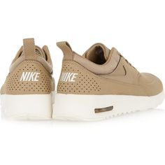 Nike Air Max Thea leather sneakers ($115) ❤ liked on Polyvore featuring shoes, sneakers, brown, leather sneakers, nike trainers, camouflage shoes, nike shoes and leather lace up shoes