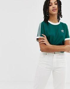 15ad9f7c021 adidas Originals adicolor three stripe t-shirt in green