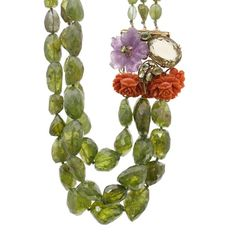 Pre-Owned Iradj Moini Amethyst & Carved Coral Peridot Bead Necklace (36 300 UAH) ❤ liked on Polyvore featuring jewelry, necklaces, green necklace, amethyst stone necklace, flower necklaces, coral necklace and beaded necklaces
