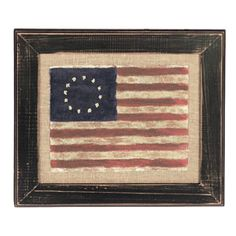 Flag painted on muslin then placed on burlap in an aged black frame.  I want this for my office at work.