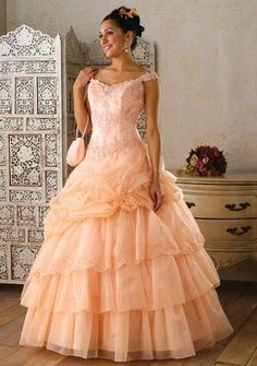 Peach Southern Ball Gown. peach ball gown    jaksflowergirldresses.com