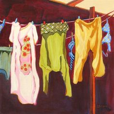 Daily Painting, Airing One s Dainties, contemporary laundry painting, painting by artist Carolee Clark Paintings I Love, Beautiful Paintings, Original Paintings, House Paintings, Laundry Art, Laundry Lines, Laundry Room, Air One, Black Aesthetic Wallpaper