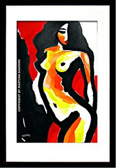 Mysterious Nude on Red abstract female nudes original painting fine art nude by artist Martina Shapiro.