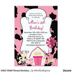 """GIRLY FARM Barnyard Themed Birthday Party Invitation 5"""" X 7"""" Invitation Card"""