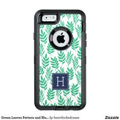 Green Leaves Pattern and Blue Monogram OtterBox iPhone 6/6s Case