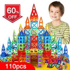 $39.6 - Nice New 110pcs Mini Magnetic Designer Construction Set Model & Building Toy Plastic Magnetic Blocks Educational Toys For Kids Gift - Buy it Now!